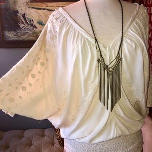 XCVI Boho Rayon Smocked & Embroidered Tunic Top